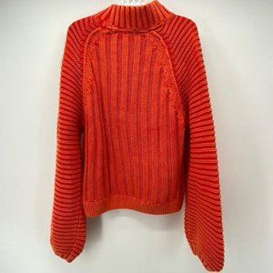 FREE PEOPLE RED CHUNKY RIBBED KNIT COTTON SWEATER